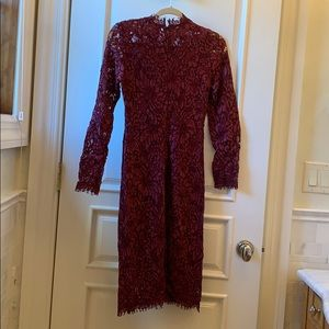 girl kaiyi Dresses - Fitted stretch lace long sleeve knee length dress